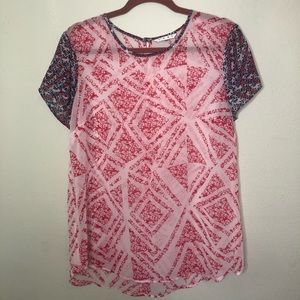 CAbi Sheer Red and Blue Top Size medium